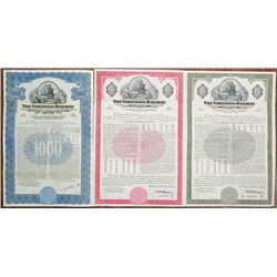 Virginian Railway Co., 1948-1958 Specimen Bond Trio.
