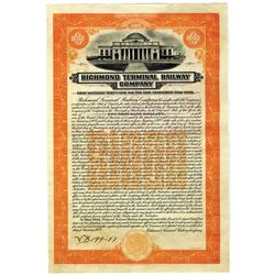 Richmond Terminal Railway Co., 1922, Specimen Stock Certificate.