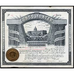Consolidated Beneficial and Building Association, 1891 I/U Stock Certificate