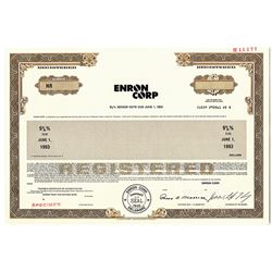 Enron Corp. 1988 Specimen Bond with Ken Lay Facsimile signature.