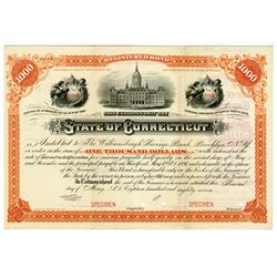 State of Connecticut, 1887 Specimen Registered Bond.