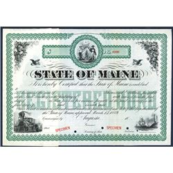 State of Maine, 1889 Specimen Bond.