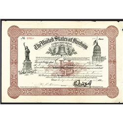 United States of Freedom, 1896 Contribution Certificate for $1000 to the Statue of Liberty Lightenin