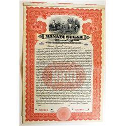 Manati Sugar Co., 1912. Specimen Bond.