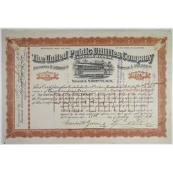 United Public Utilities Co. 1911 Partially Redeemed Stock Certificate
