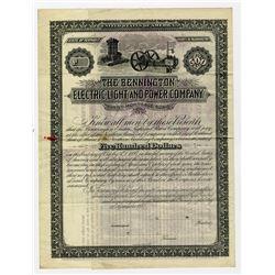 Bennington Electric Light and Power Co. 1887 Specimen Bond