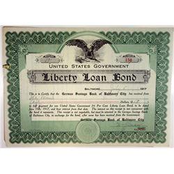 U.S. Government, Liberty Loan Bond receipt dated 1917 from German Savings Bank.