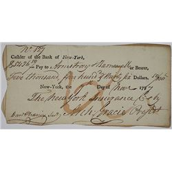 Bank of New York, 1797 Issued and Cancelled Checks.