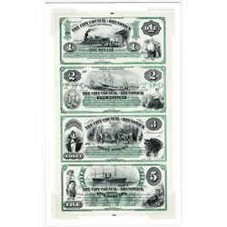 City Council of Brunswick, 1870-80 Uncut Reprint ABN Intaglio Printed Sheet of 4 notes.