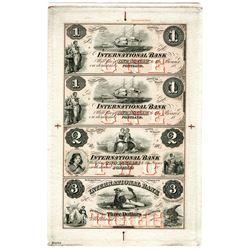 International Bank, 1860's Reprint Proof Remainder Sheet of 4 Notes.