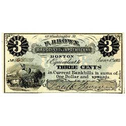 F. Brown, Druggist and Apothecary, 1863, Scrip Note.