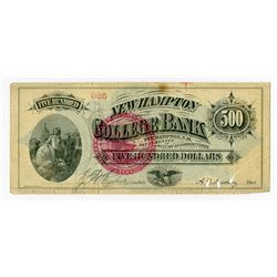 New Hampton College Bank, ND (ca.1860-70's) $500 College Currency Rarity.