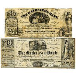 Kathairon Bank, 1850-60's Advertising Note Pair.