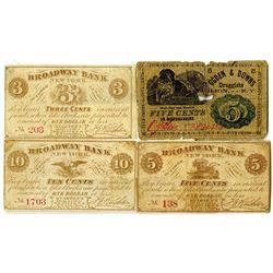 Ogden & Downs, Druggist, ca. 1860s & Broadway Bank, NY Scrip Note Quartet