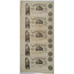H.H. Robinson, 1850's Uncut Sheet of 5 Obsolete Scrip Note Remainders