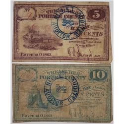Treasurer of Portage County (Ravenna, OH). 1862-1883. Lot of 2 Issued Notes.