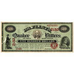 Dr. Flint's Quaker Bitters, 1860-70's Advertising Note.
