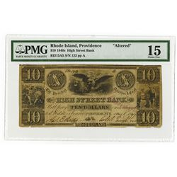 High Street Bank, 1847 Issued $10 Obsolete Banknote, Listed as SENC in Haxby.