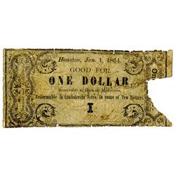 """W.H. Eliot, Druggist and Apothecary, 1864, Houston, Texas, $1 Scrip Note """"Good For $1""""."""