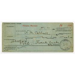 US Postal Money Order. Jan.1, 1899 From Princeton, Wisconsin.