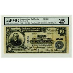 First National Bank of Los Angeles, CA., 1902 PB $10, Fr#634, Ch# 2491  National Banknote