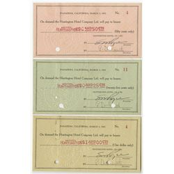 Huntington Hotel Co. Ltd. 1933. Trio of Issued Depression Scrip.