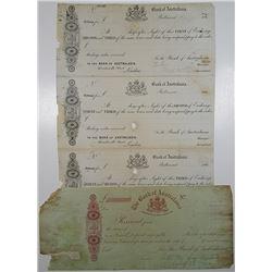 "Bank of Australasia. 1860's ""Tasmania"" Branch Certificate of Deposit Proof & Ballaarat Uncut sheet o"