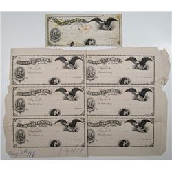 Commercial Bank of Augusta, 1879 Unique Approval Proof Uncut Sheet of 6 Drafts and Mockup of Check.