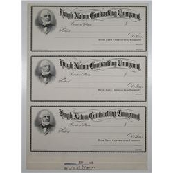 Hugh Nawn Contracting Co., 1905 Approval Proof Uncut Check Sheet of 3 Checks.