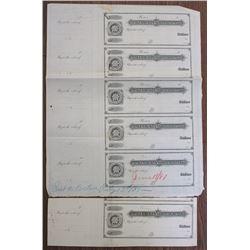 Maverick National Bank - New England Mutual Life Ins. Co.,, 1881 Uncut sheet of 5 Checks and Unique