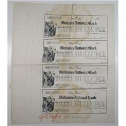 Mechanics National Bank, NY Daily Bulletin Association, 1880 Unique Approval Proof Uncut Sheet of 4