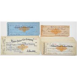 Revenue Imprinted Check Group of I/C Checks, ca.1899-1900.