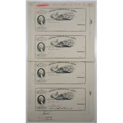 Second National Bank of Akron, 1879 (Plate Cancel Impression dated 1940), Uncut Sheet of 4 Proofs.