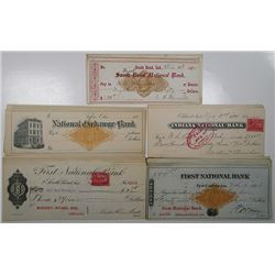 Indiana & Ohio Revenue Imprinted & Stamped Check Assortment ca. 1880's to 1901.