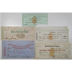 Various US Banking Institutions. 1850s-1870s. Lot of 18 Issued Checks, All but One With U.S. Imprint