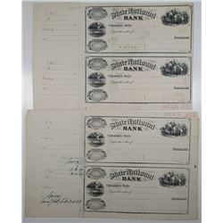 State National Bank, 1890-1900 Unique Approval Proof Uncut Pair of Drafts & Cancellation Proof pair.