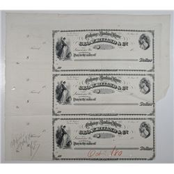 Geo. W. Ryland & Co., Exchange and Banking House, 1880 Unique Approval Proof Uncut Sheet of 3 Drafts