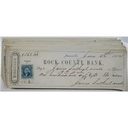 Rock County Bank, Janesville, WI., 1863-1864 Bank Check Assortment with Adhesive First Issue Revenue