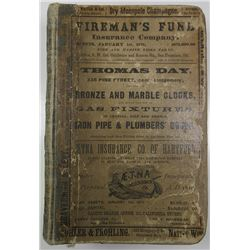 San Francisco Directory for 1875, Complete but slightly used with Hundreds of Advertisements.