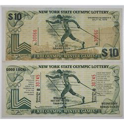 New York State Olympic Lottery - XIII Olympic Winter Games, Lake Placid, New York. 1979-1980 Uncut L