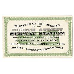 Philadelphia Rapid Transit Co., 1908, Souvenir Card