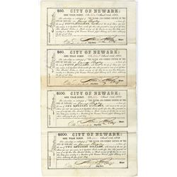 City of Newark, March 15, 1865, One Year Scrip Un-Cut Obsolete Banknote, Scrip Sheet Signed by Civil