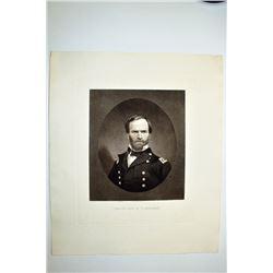 Major General William T. Sherman ca. 1860-80's Engraving by Sartain.