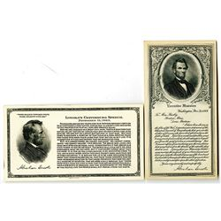 Western Banknote Company, Abraham Lincoln Advertising Card Pair, ca.1910-20's.