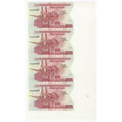 DuraNote Uncut Vertical Strip of 4 notes, ND  1980-90's Specimen DuraNote Polymer Notes.