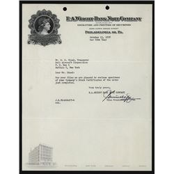 E.A.Wright Bank Note Company 1958 Intaglio Letterhead Discussing Bell Aircraft Specimens.