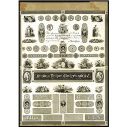 Fairman, Draper, Underwood & Company 1824 Proof Advertising Sheet