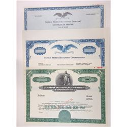 United States Banknote Corp., 1980s Trio of Specimen Stock & Advertising Certificates.