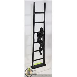 TALL IRON AND MARBLE MAN WITH LADDER STATUE