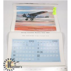 "21"" X 14"" 1981 HISTORIC AIRPLANE CALENDAR"